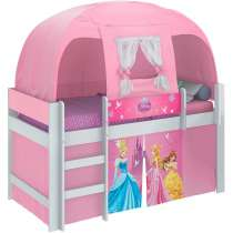 Cama Princesas Disney Play com Barraca - Pura Magia Branco/rosa