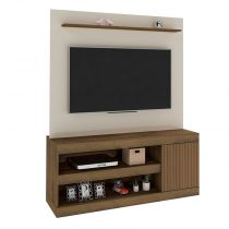 Estante para TV de 60'' Polegadas Capri- Artely - Off white / Pinho ripado