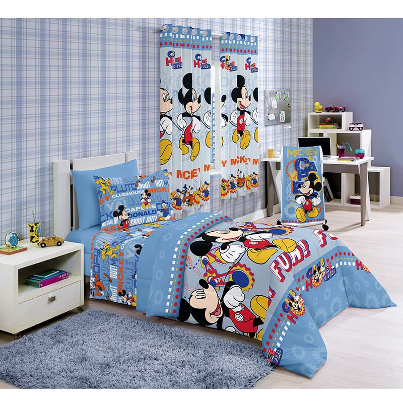 Edredom Solteiro Mickey Fun - Santista Disney Light  .p  Azul claro