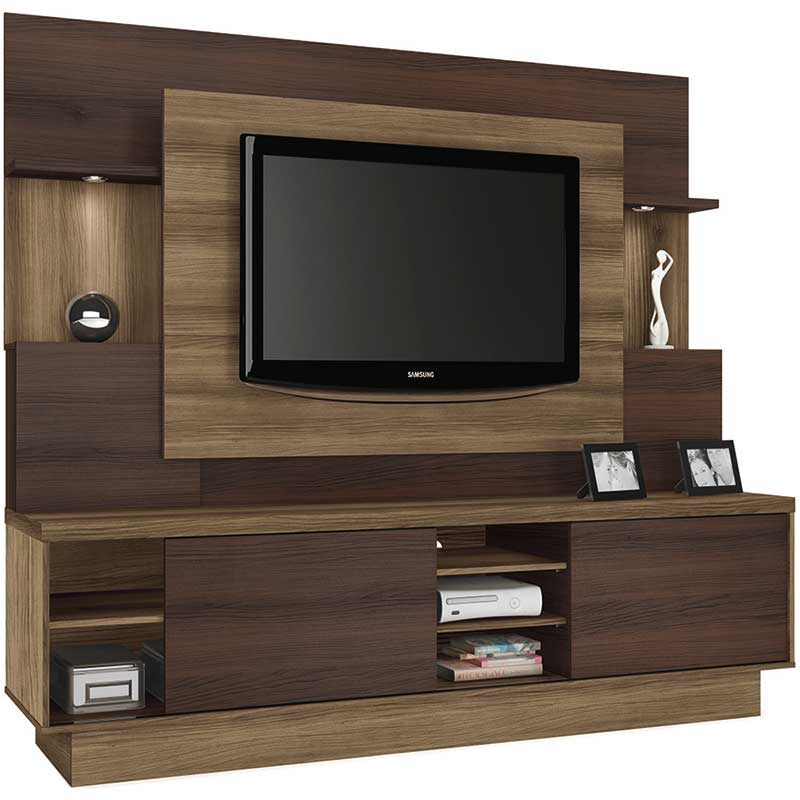 Estante Home Theater Aron - Linea Brasil Capuccino wood/ebano