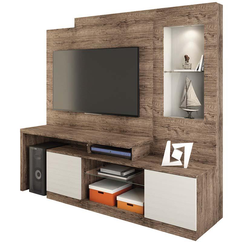 Estante Home Theater Zeus - Linea Brasil Naturale/fendi wood