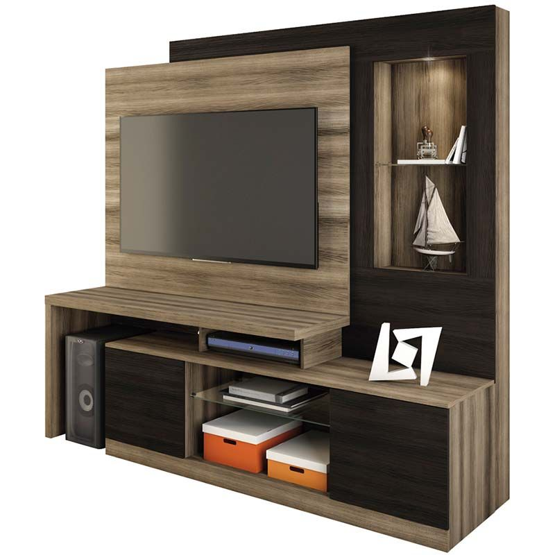 Estante Home Theater Zeus - Linea Brasil Capuccino wood/ebano